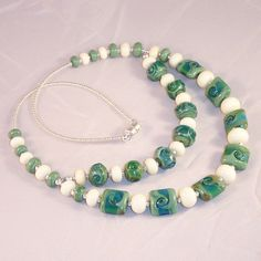 """Lampwork Glass Necklace """"Pristine Shore"""" by LiteratePackrat on Etsy"""