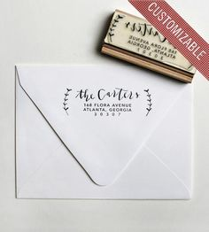 custom olive branch address stamp