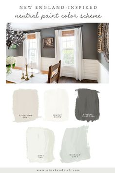 Read the Color Story of this New England Neutral Paint Color Scheme and learn how to discover the perfect neutral paint colors for your own home. Paint Color Schemes, Room Paint Colors, Paint Colors For Living Room, Paint Colors For Home, My Living Room, Interior Paint Colors, Interior Design, Dining Room Colors, Interior Color Schemes