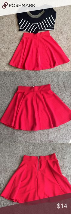 H&M Ribbed Skater Skirt Never worn. Thought it fit me in the dressing room so I took the tags off but never really fit me again. Brand new condition. Color is Red. Like red red Has a short zipper in back. Ribbed line type of texture. Tags zara, urban outfitters✨only available till Jan 1✨ H&M Skirts Circle & Skater