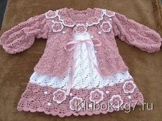 Crochet baby set – baby dress and a cute cardigan See other ideas and pictures from the category menu…. Faneks healthy and active life ideas Crochet Baby Dress Pattern, Baby Dress Patterns, Baby Girl Crochet, Crochet Baby Clothes, Crochet Jacket, Crochet Blanket Patterns, Crochet For Kids, Knitting Patterns, Crochet Baby Dresses
