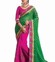 Buy Green - Rani-pink embroidered jacquard saree with blouse jacquard-saree online