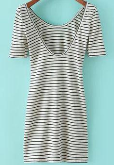 White Striped Scoop Neck Short Sleeve Slim Dress - Sheinside.com