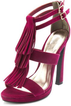 Berry platform heels with triple tassels and double side ankle buckles.