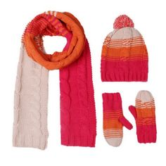 Gradient color womens hat scarf and gloves set cable knit patterns