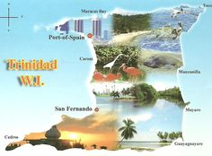 Map of Trinidad ~ West Indies