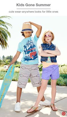 Vacay mode starts NOW. What to bring for the kids? Not much: This tee, those shorts and, voila, they're set. Grab a few basic (not to mention super-cute) outfits that mix and match, and get your easy-peasy-pack on.