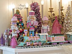 Penny's Vintage Home: Precious Moments Christmas Train Gingerbread Christmas Decor, Candy Land Christmas, Retro Christmas Decorations, Christmas Train, Whimsical Christmas, Christmas Fairy, Christmas Time, Winter Christmas, Winter Holidays