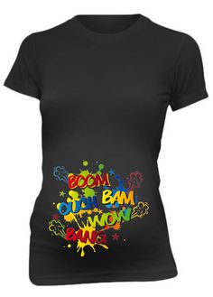 Wow Boom Ouch Kicking Maternity Tee Shirt Funny by aerotees, $34.99