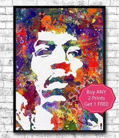 Jimi Hendrix Poster Jimi Hendrix Watercolor Print by ArtsPrint