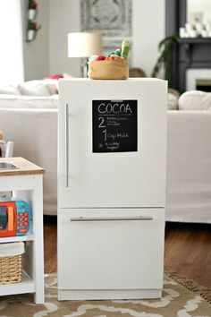 This modern farmhouse kids kitchen set is inspired by Pottery Barn Kids but for a much smaller price tag. We're sharing our free building plans! Ikea Kids Kitchen, Kitchen Sets For Kids, Kitchen Set Up, Diy Play Kitchen, Toy Kitchen, Play Kitchens, Kitchen Storage, Kitchen Oven, Ikea Toys