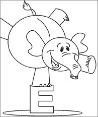 E is for Elephant Coloring Page Free Printable Letter Stencils, Free Stencils, Printable Letters, Elephant Colour, Elephant Theme, Learning The Alphabet, Kids Learning, Preschool Letters, Preschool Ideas