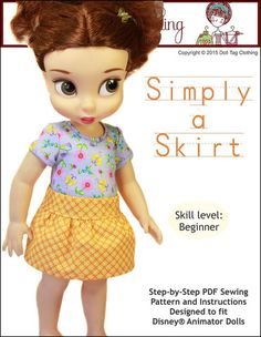 Doll Tag Clothing Simply A Skirt Doll Clothes Pattern Disney Animator Dolls | Pixie Faire