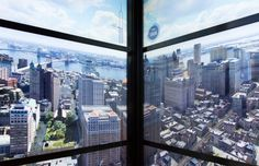 The elevators that take you up to the observatory of the new One World Trade Center will display an animated time-lapse video that shows the evolution of the New York City skyline over the last 500 years. New York City Skyline, Nyc Skyline, Manhattan Skyline, Lower Manhattan, One World Trade Center, Trade Centre, Rocket Ride, The Freedom Tower, Ville New York