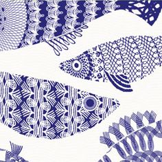 Blue Fish from the  brand new Alabasta collection designed by British textile designer Asta Barrington.