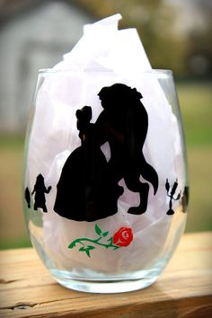 Beauty and The Beast Inspired Wine Glass, Personalized Wine Glass, Disney Princess Belle ♦Our wine glasses make great gifts for friends and family members alike. ♦This listing is for one Personalized Stemless Wine Glass that hold 15 oz of your favorite b Beauty And The Beast Theme, Beauty And Beast Wedding, Disney Beauty And The Beast, Beauty Beast, Bella Disney, Disney Princess Belle, Disney Home, Disney Diy, Disney Bachelorette Parties