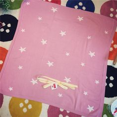 Baby Knit Thread air conditioning  Blanket pink blue star  For Bed Sofa Cobertores Mantas BedSpread Play Mat Gift 90*90cm