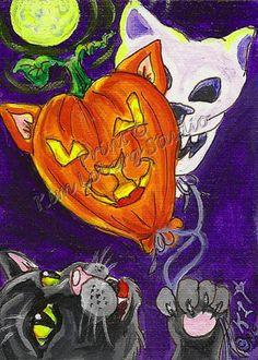 Witch Cat kitty Skull pumpkin Balloons aceo Print EBSQ Kim Loberg Art halloween #IllustrationArt