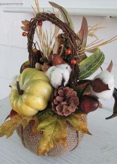 Fall Basket, Thanksgiving Basket, Autumn Basket, Harvest Basket, Pumpkin Basket, Thanksgiving Décor, Fall Décor, Autumn Décor, Burlap by SilvaLiningDesigns on Etsy