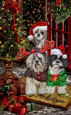 New for Shih Tzu Christmas Holiday Cards are 8 x 5 and. The post New for Shih Tzu Christmas Holiday Cards are 8 x 5 and com& appeared first on Bruce Kennels. Christmas Scenes, Christmas Animals, Christmas Cats, Christmas Pictures, Christmas Greetings, Christmas Holidays, Merry Christmas, Xmas, Illustration Noel