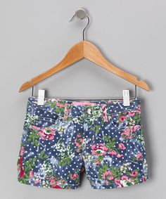 This Cutie Patootie Blue Polka Dot Floral Shorts by Cutie Patootie is perfect! #zulilyfinds