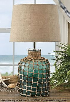 """Sea Green Lamp with Shade by Park Designs 29 25"""" High Textured Beach Style 