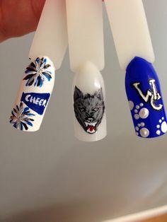 "Cheer nails ""Go Big Blue"" Shays nails"