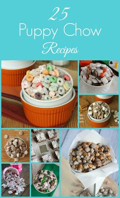 Puppy Chow recipes - mostly using Chex, powdered sugar & LOTS of different ingredients/flavours! Fun for kids. And big kids! LOL