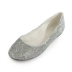 Elegant Patent Leather Flat Heel Closed-toe With Rhinestone Party / Casual Shoes  #sapatos #zapatos