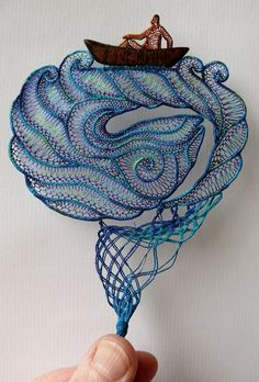 Delicate Stunning Lace Embroidery Art works by Agnes Herczeg Art Fibres Textiles, Textile Fiber Art, Fabric Art, Fabric Crafts, Art Au Crochet, Lace Art, Lacemaking, Weaving Art, Lace Embroidery