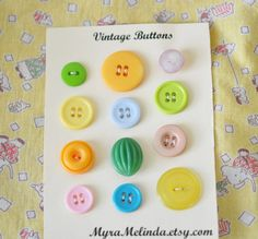 Over the rainbow 1950s vintage buttonsSet of 12 by MyraMelinda, $3.99