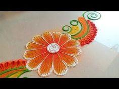 Easy / Simple / BEAUTIFUL Rangoli Designs with colours || Easy Kolam for beginners || Daily Muggulu! - YouTube Simple Flower Rangoli, Rangoli Designs Flower, Colorful Rangoli Designs, Rangoli Designs Diwali, Beautiful Rangoli Designs, Kolam Designs, Easy Rangoli, Peacock Rangoli, Diwali Decorations