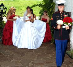 i was thinking blue dresses. but red seems like the best way to go for a marine wedding with blue flowers Bridesmaid Dress Colors, Blue Wedding Dresses, Blue Dresses, Dress Blues, Bridesmaids, Marine Wedding Colors, Marine Corps Wedding, Army Photography, Wedding Photography