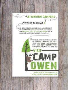 Modern Camping Birthday Party Invitation. $15.00, via Etsy.
