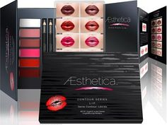 Aesthetica Matte Lip Contour Kit - Contouring and Highlighting Matte Lipstick Palette Set - Includes Six Lip Crèmes, Four Lip Liners, Lip Brush and Step-by-Step Instructions - Vegan & Cruelty Free