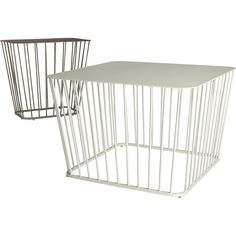 Shop wire side table.   Retro lives modern in this wire cage design from the bright minds at Berlin-based design studio Hettler. Tüllmann.