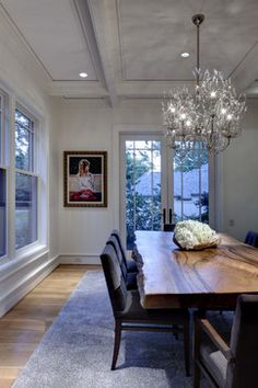 Faux wood countertop idea with rough edge. Greenbrier Residence - contemporary - dining room - dallas - Domiteaux + Baggett Architects, PLLC