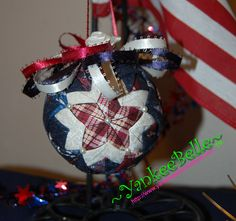 If you are interested in purchasing this festive Stargazer quilted ornament, contact me at:  susan@yankeebellecreations.com Disclaimer:  These ornaments are for deco...