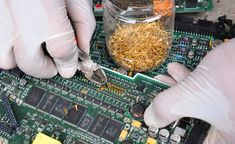 Gold Recycle from scrap components electronics. connectors Electronic ci...