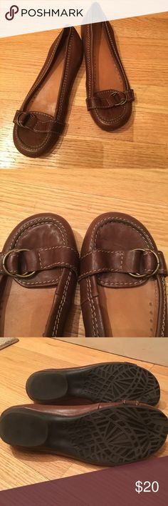 Brown faux leather flats Hardly worn. Has a spot on one of the toes (shown in second picture). Great for business with pants or dresses. Reasonable offers welcome! Bakers Shoes Flats & Loafers