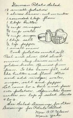 Vintage Stuff German Potato Salad - Vintage Recipe from a Lutheran Church Cookbook - This baked German potato salad is a unique take on a traditional favorite, by using baked fingerling potatoes adding a nice roasted flavor to the dish. Retro Recipes, Old Recipes, Vintage Recipes, Cooking Recipes, German Recipes, Family Recipes, Cooking Kale, Ukrainian Recipes, Cooking Stuff