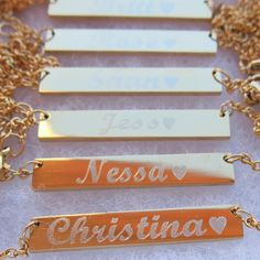 Personalized Gold Bar Necklace Gold Filled by BarnecklaceMo