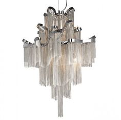 This beautifully designed tier tassel light exhibits gracefulness. The chandelier ornament is fixed to the ceiling with a chrome aluminum chain and uses 6 lights. Size : bulb base Contact us for pricing