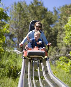The mountain coaster is a fun attraction at Colorado's Glenwood Caverns Adventure Park, which has historic caves, a giant swing over a canyon, and other family attractions.