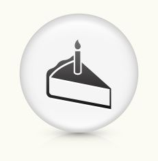 Birthday Cake Slice icon on white round vector button vector art illustration