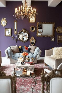 Maison dark purple living room, benjamin moore shadow More How To Buy A Persian Rug A Persian rug is Benjamin Moore Shadow, Dark Purple Walls, Purple Gold, Plum Walls, Purple Mirror, Dusty Purple, Purple Accents, Deep Purple, Room Wall Colors