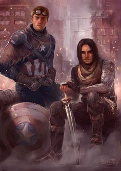 beccj: Bucky and Steve^^ Inspired by a prompt from Petite-Madame and the Planet Hulk comics. Started out as post-apocalyptic, not sure where it's ended up. Prints available.