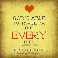 God is Able . . . Matthew 6: 25-34