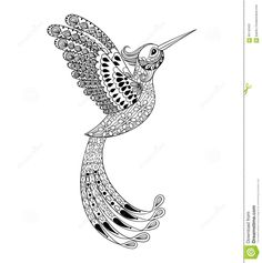 Zentangle Hand Drawn Artistically Hummingbird, Flying Bird Triba Stock Vector - Image: 65143431