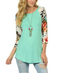 Mint Floral-Sleeve Tunic - Plus